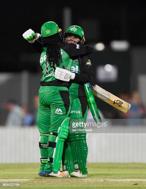 Alana King and Mignon du Preez of the Stars celebrate after winning the Women's Big Bash League match between the Brisbane Heat and the Melbourne...
