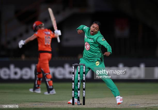 Alana King of the Stars celebrates after taking the wicket of Beth Mooney of the Scorchers during the Women's Big Bash League WBBL Semi Final match...