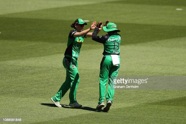 Alana King of the Stars celebrates catching out Danni Wyatt of the Renegades during the Women's Big Bash League between the Melbourne Stars and the...