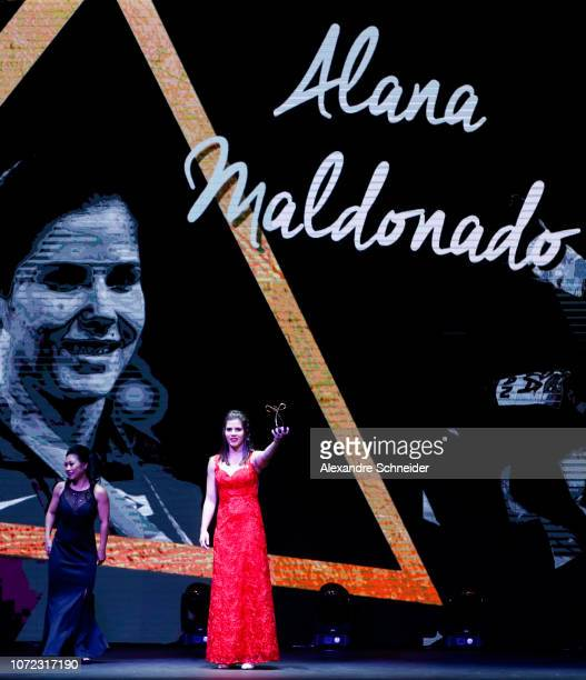 Alana Maldonado paralympic judo player poses for photo after winning the best judo athlete during the Brazil Paralympics Awards Ceremony 2018 at...