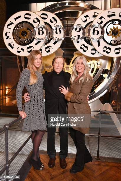 Alana Netzer Guenter Netzer and Elvira Netzer visit the IWC booth during the Maison's launch of its Jubilee Collection at the Salon International de...