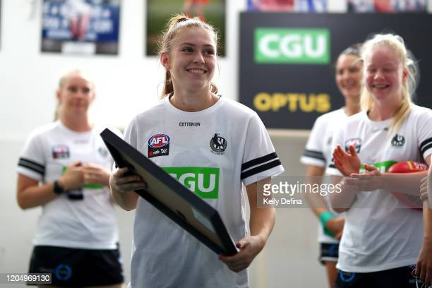 Alana Porter of the Magpies looks on during the guernsey presentation during the round one AFLW match between the Collingwood Magpies and the West...