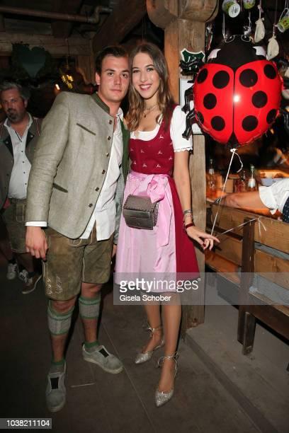 Alana Siegel and her nephew Marlon Siegel son of sister Giulia Siegel during the Oktoberfest 2018 opening at Kaeferschaenke at Theresienwiese on...