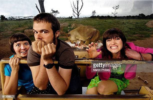 Alana Skyring John Patterson and Patience Hodgson of The Grates pose for a group portrait at Werribee Open Plain Zoo on 30th January 2006 in...