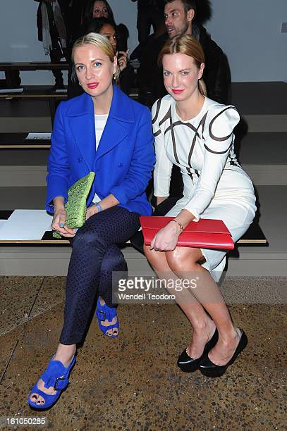 Alana Smith and Polina Proshkina attends the Cushnie Et Ochs show during Fall 2013 MADE Fashion Week at Milk Studios on February 8 2013 in New York...
