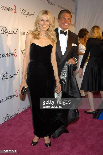 Alana Stewart and George Hamilton during 13th Annual Elton John AIDS Foundation Oscar Party Cohosted by Chopard Red Carpet at Pacific Design Center...