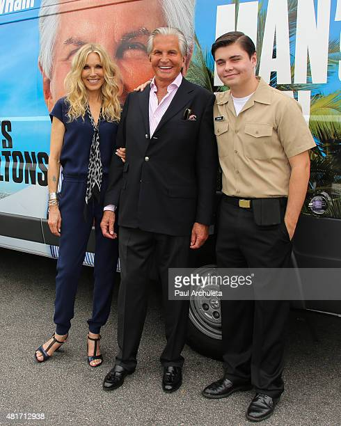 Alana Stewart George Hamilton and George Thomas Hamilton attend the E Channel's Tan Man's Van photo op at The Grove on July 23 2015 in Los Angeles...