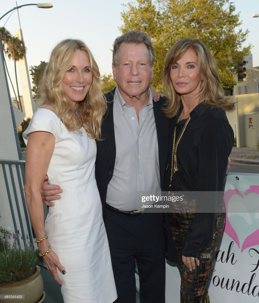 Alana Stewart, Ryan O'Neal and Jaclyn Smith attend the Farrah Fawcett 5th Anniversary Reception at the Farrah Fawcett Foundation on June 25, 2014 in Beverly Hills, California.