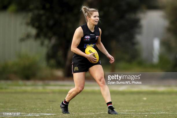 Alana Woodward of the Saints looks on during the St Kilda training session at RSEA Park on October 14, 2021 in Melbourne, Australia.