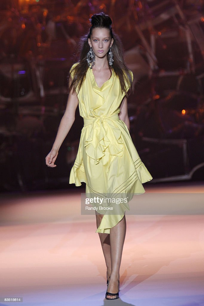Alana Zimmer wearing Zac Posen Spring 2009 at The Tent in Bryant Park on September 11, 2008 in New York City.