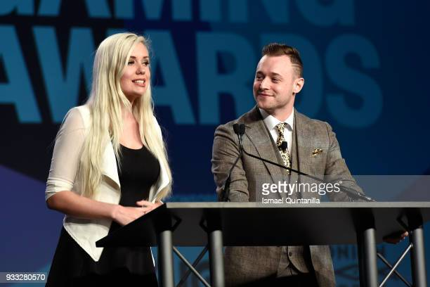 Alanah Pearce and Rich Campbell speak onstage at SXSW Gaming Awards during SXSW at Hilton Austin Downtown on March 17 2018 in Austin Texas