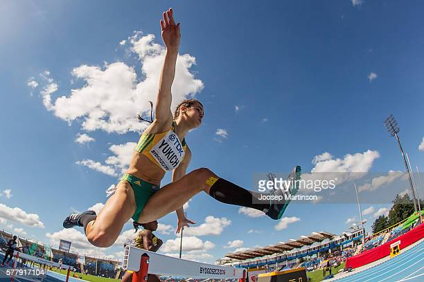 Alanah Yukich from Australia competes in women's 400 meters hurdles during the IAAF World U20 Championships at the Zawisza Stadium on July 20 2016 in...