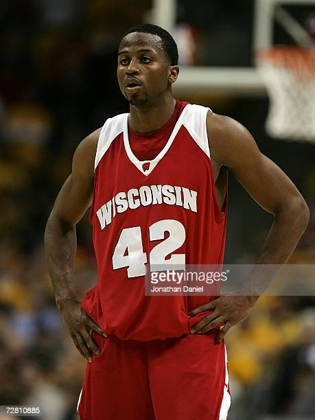 Alando Tucker of the Wisconsin Badgers looks on against the Marquette Golden Eagles December 9 2006 at the Bradley Center in Milwaukee Wisconsin...
