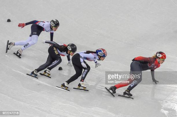 Alang Kim Marianne St Gelais Sumire Kikuchi and Lana Gehring head into the final turn of the Ladies' 1000M Heat 7 race during the 2018 Winter Olympic...