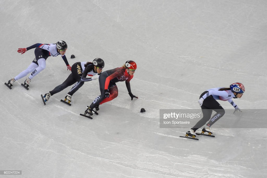 Alang Kim (KOR), Marianne St. Gelais (CAN), Sumire Kikuchi (JPN), and Lana Gehring (USA) head into the final turn of the Ladies' 1000M Heat 7 race during the 2018 Winter Olympic Games at the Gangneung Ice Arena on February 20, 2018 in PyeongChang, South Korea.