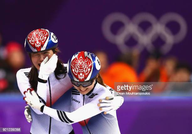 Alang Kim of Korea and Minjeong Choi of Korea celebrate following the Ladies Short Track Speed Skating 3000m Relay Final A on day eleven of the...