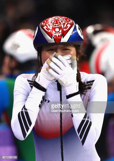 Alang Kim of Korea celebrates following the Ladies Short Track Speed Skating 3000m Relay Final A on day eleven of the PyeongChang 2018 Winter Olympic...