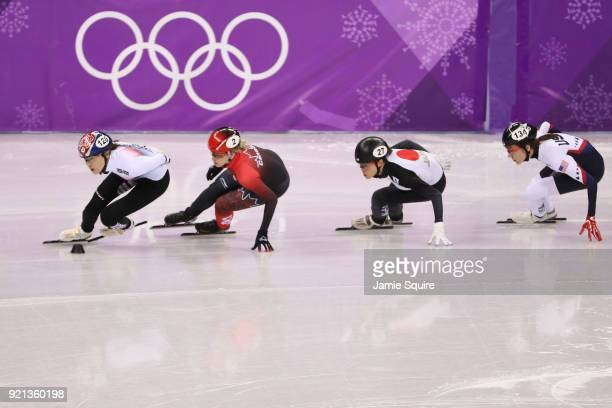 Alang Kim of Korea Marianne St Gelais of Canada Sumire Kikuchi of Japan and Lana Gehring of the United States during the Ladies Short Track Speed...
