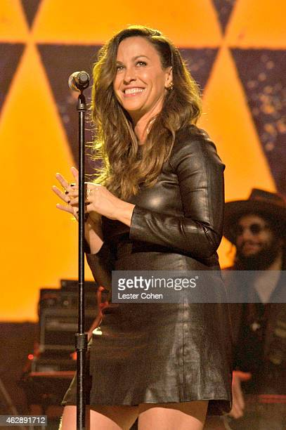 Alanis Morisette performs onstage at the 25th anniversary MusiCares 2015 Person Of The Year Gala honoring Bob Dylan at the Los Angeles Convention...