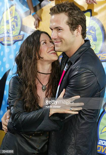 Alanis Morissette and Ryan Reynolds attend The 2003 MTV Movie Awards held at the Shrine Auditorium on May 31 2003 in Los Angeles California