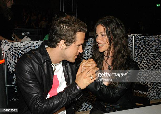 Alanis Morissette and Ryan Reynolds during 2003 MTV Movie Awards Backstage and Audience at The Shrine Auditorium in Los Angeles California United...