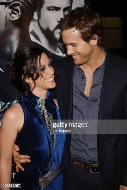Alanis Morissette and Ryan Reynolds during 'Blade Trinity' Los Angeles Premiere Red Carpet at Grauman's Chinese Theater in Hollywood California...