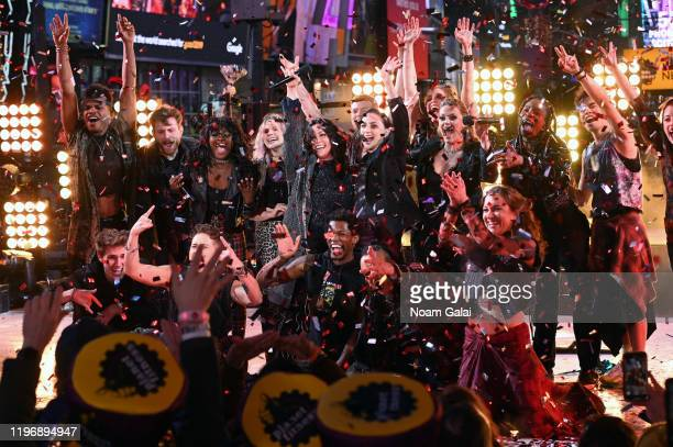 Alanis Morissette and the Jagged Little Pill cast perform at Times Square New Year's Eve 2020 Celebration on December 31 2019 in New York City