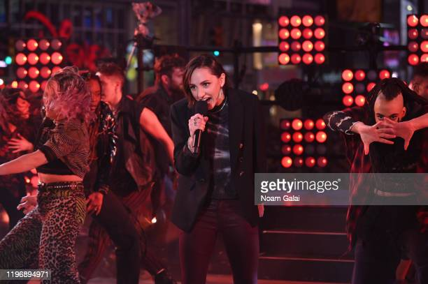 Alanis Morissette and the Jagged Little Pill cast perform the Times Square New Year's Eve 2020 Celebration on December 31 2019 in New York City