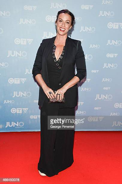 Alanis Morissette arrives at the 2015 Juno Awards at the FirstOntario Centre on March 15 2015 in Hamilton Canada