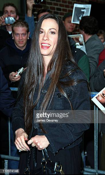 Alanis Morissette during Alanis Morrisette Arriving at the 'Late Show with David Letterman' February 25 2002 at The Ed Sullivan Theater in New York...