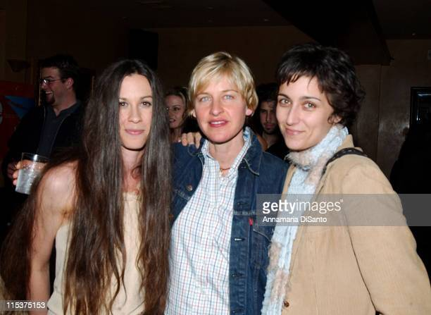 Alanis Morissette Ellen DeGeneres and friend at Morissette's record release party The new album is titled 'Under Rug Swept'