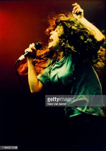 Alanis Morissette, performing on stage, Pinkpop, Landgraaf, Netherlands, 27th May 1996.