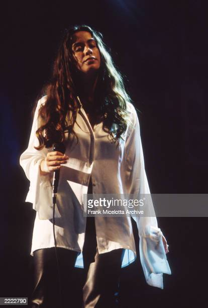 Alanis Morissette performing onstage at the 1995 Mtv Video Music Awards held in Los Angeles CA on September 7 1995
