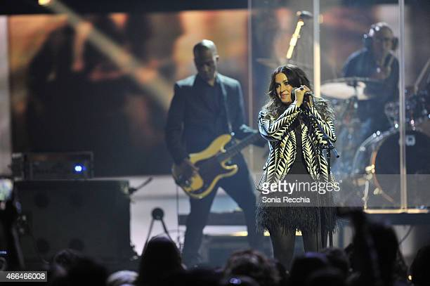 Alanis Morissette performs at the 2015 JUNO Awards at FirstOntario Centre on March 15 2015 in Hamilton Canada