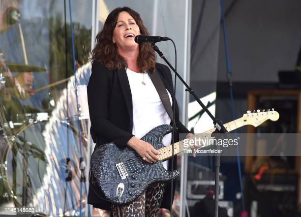 Alanis Morissette performs during the 2019 New Orleans Jazz Heritage Festival 50th Anniversary at Fair Grounds Race Course on April 25 2019 in New...