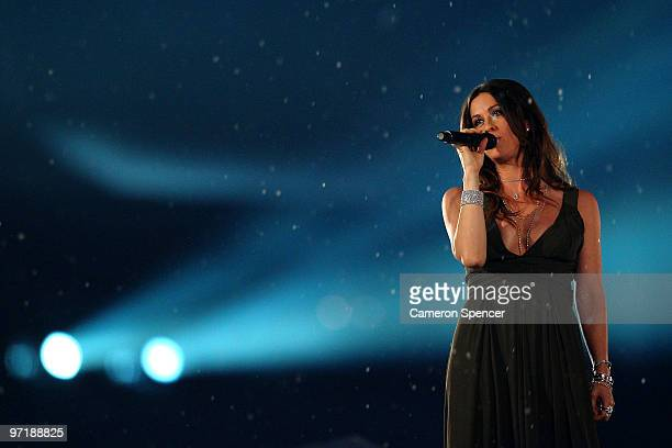 Alanis Morissette performs during the Closing Ceremony of the Vancouver 2010 Winter Olympics at BC Place on February 28 2010 in Vancouver Canada