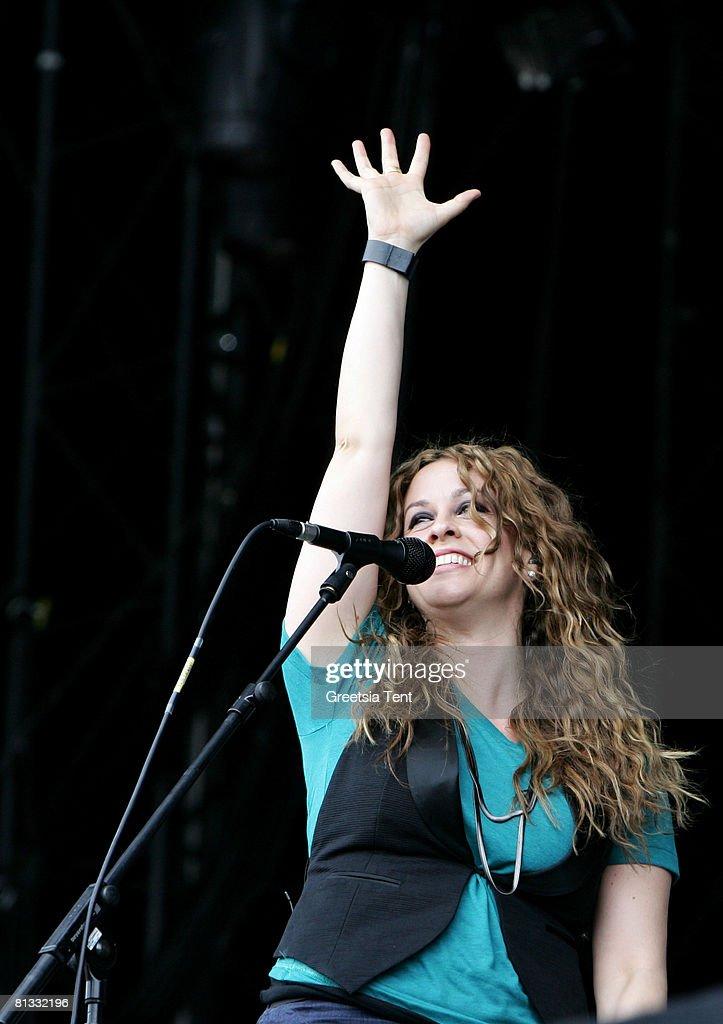 Alanis Morissette performs live on day 3 of the 39th Pinkpop Festival on June 1, 2008 in Landgraaf, Netherlands.