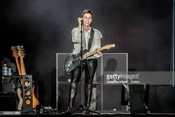 Alanis Morissette performs on stage at Ippodromo San Siro on July 25 2018 in Milan Italy