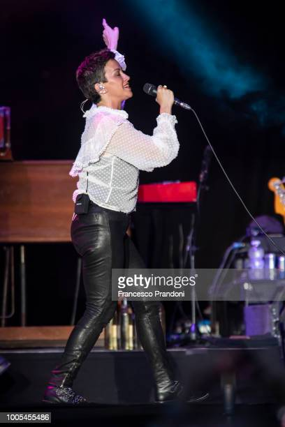 Alanis Morissette performs on stage during at Ippodromo San Siro on July 25 2018 in Milan Italy