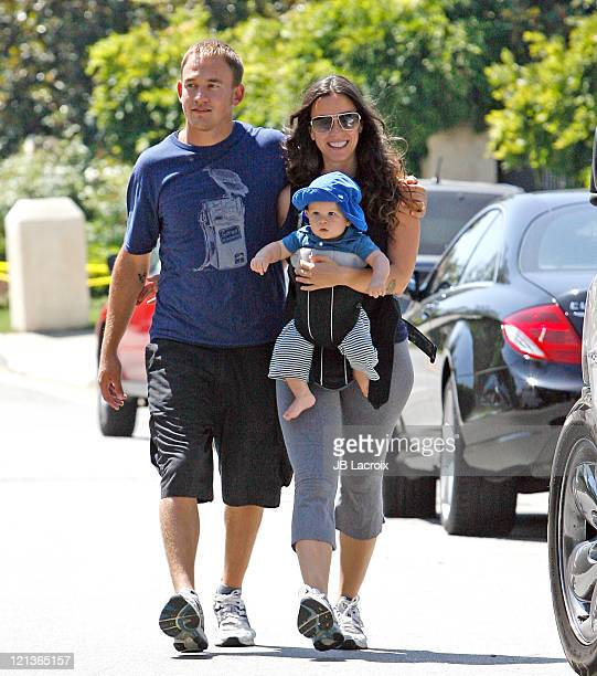 Alanis Morissette Souleye Mario Treadway and Ever Imre MorissetteTreadway are seen in Brentwood on August 18 2011 in Los Angeles California