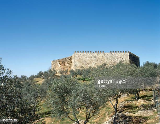 Alanis province of Seville Andalusia Spain General view of the medieval castle In 1808 it was rebuilt and gunned down by the French during the...