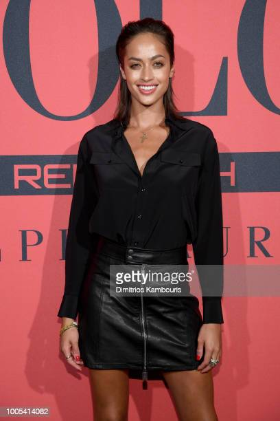 Alanna Arrington attends the Polo Red Rush Launch Party with Ansel Elgort at Classic Car Club Manhattan on July 25 2018 in New York City