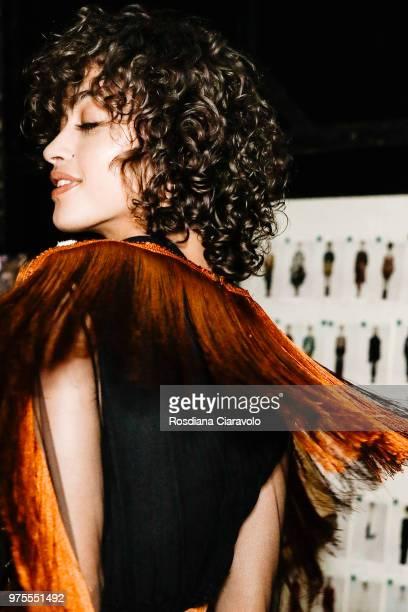 Alanna Arrington is seen backstage ahead of the Alberta Ferretti show during Milan Men's Fashion Week Spring/Summer 2019 on June 15 2018 in Milan...