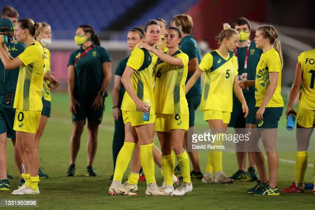 Alanna Kennedy and Chloe Logarzo of Team Australia look dejected following defeat in the Women's Semi-Final match between Australia and Sweden on day...