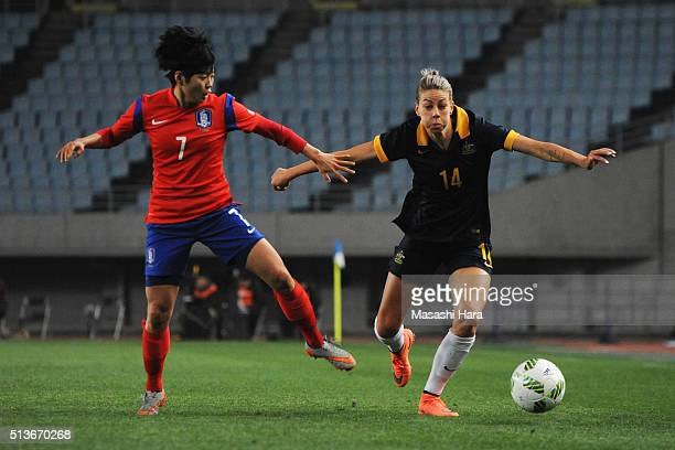 Alanna Kennedy of Australia and Jeon Ga Eul of South Korea compete for the ball during the AFC Women's Olympic Final Qualification Round match...