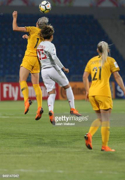 Alanna Kennedy of Australia and Yuika Sugasawa of Japan challenge for the ball during the AFC Women's Asian Cup final between Japan and Australia at...