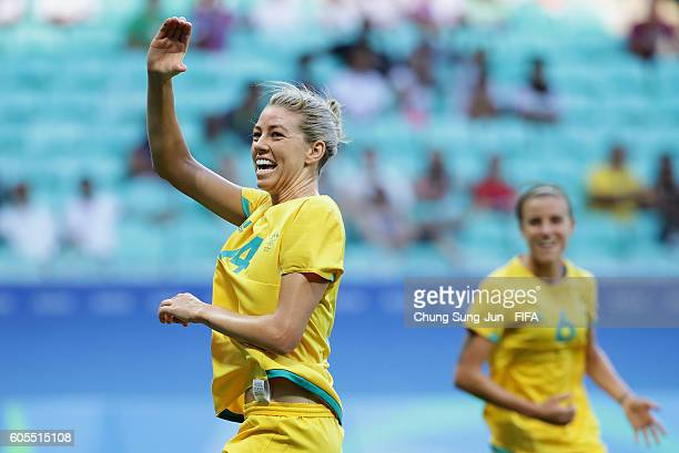 Alanna Kennedy of Australia celebrates after scoring a goal during the Women's Football match between Austrlia and Zimbabwe on Day 4 of the Rio 2016...