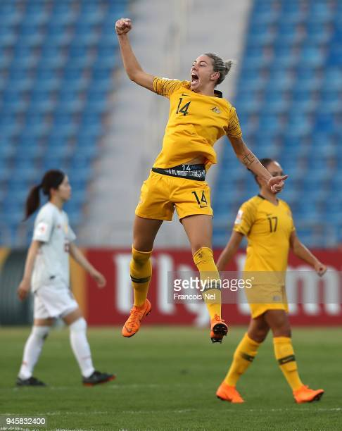 Alanna Kennedy of Australia celebrates after the AFC Women's Asian Cup Group B match between Japan and Australia at the Amman International Stadium...