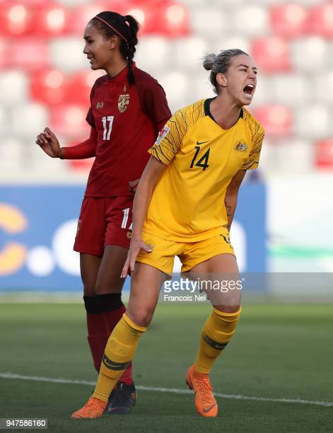 Alanna Kennedy of Australia celebrates scoring the second goal during the AFC Women's Asian Cup semi final between Australia and Thailand at the King...