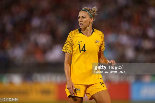 Alanna Kennedy of Australia during the Tournament of Nations match between Australia and United States of America at Pratt Whitney Stadium on July 29...